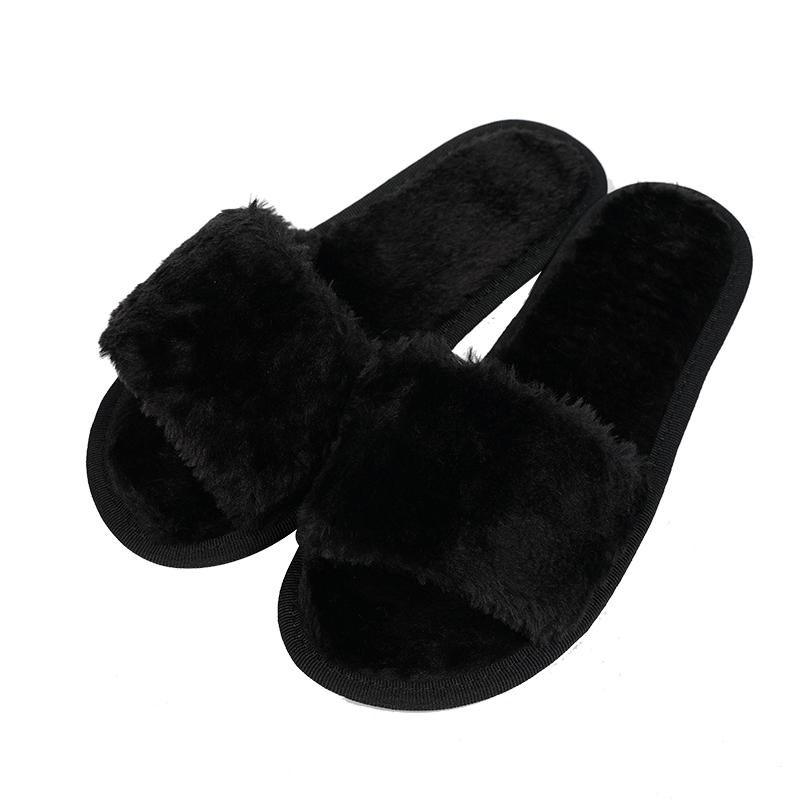 Senza Fretta Women Shoes Home Slippers Autumn Women Indoor Slippers Soft Rabbit Hair Non-slip Slippers Soft Home Shoes Plus Size