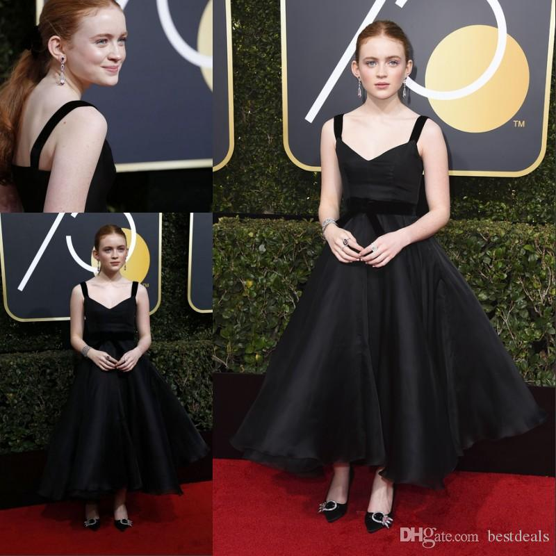 3e8378e3a 2018 Sadie Sink 75th Annual Golden Globe Awards Red Carpet Celebrity Gowns  Spaghetti Straps Vintage Ankle Length Prom Gowns Vestidos Black And White  Prom ...