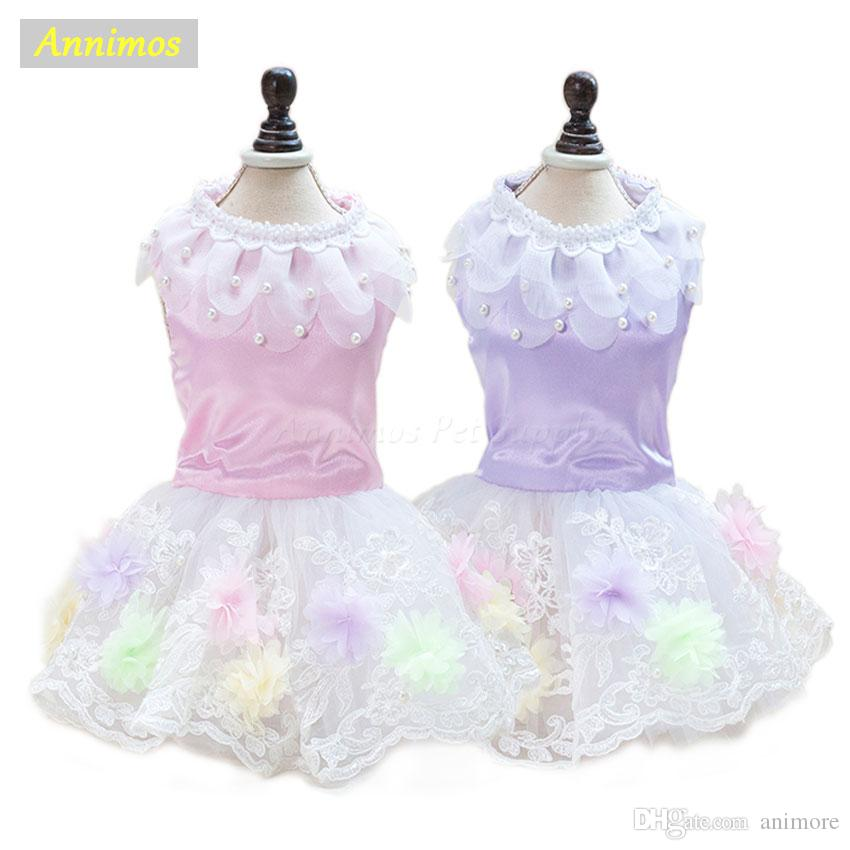 Pet Wedding Dresses for Dogs Flower Lace Satin Skirt Party Tutu Puppy Costume Clothes for Small Girl Dog Chihuahua Yorkie 35