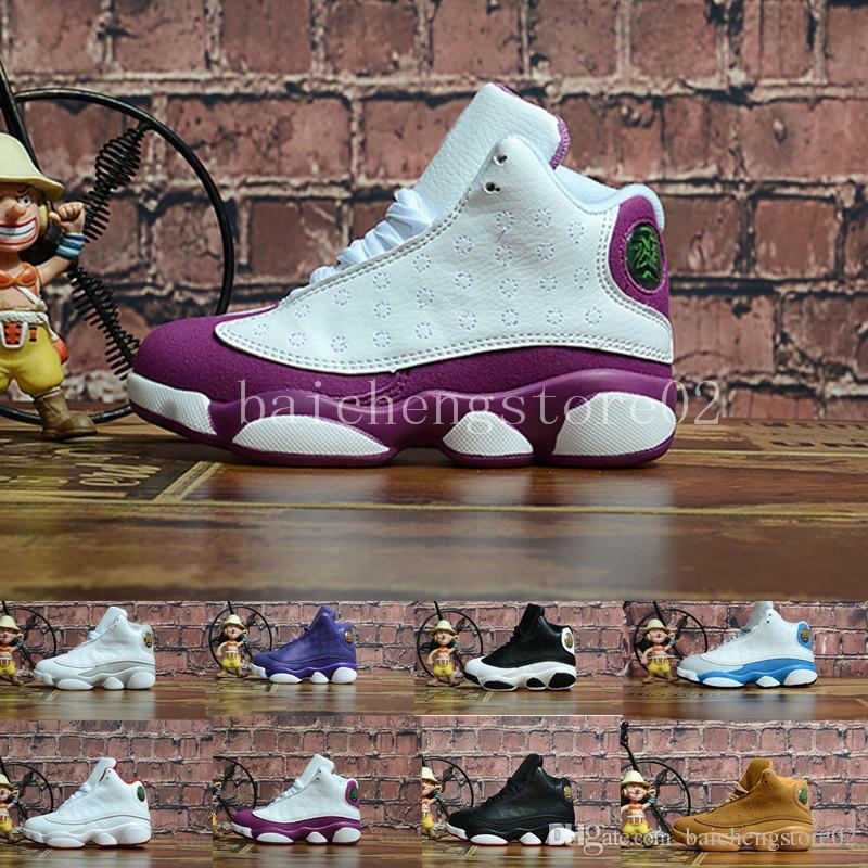 75632e3800f Acheter Nike Air Jordan 13 Pas Cher Enfants 13 Enfants Chaussures De Basket  Ball Garçon Fille 13 S Noir Chaussures De Sport Enfants En Bas Âge  Formateurs ...