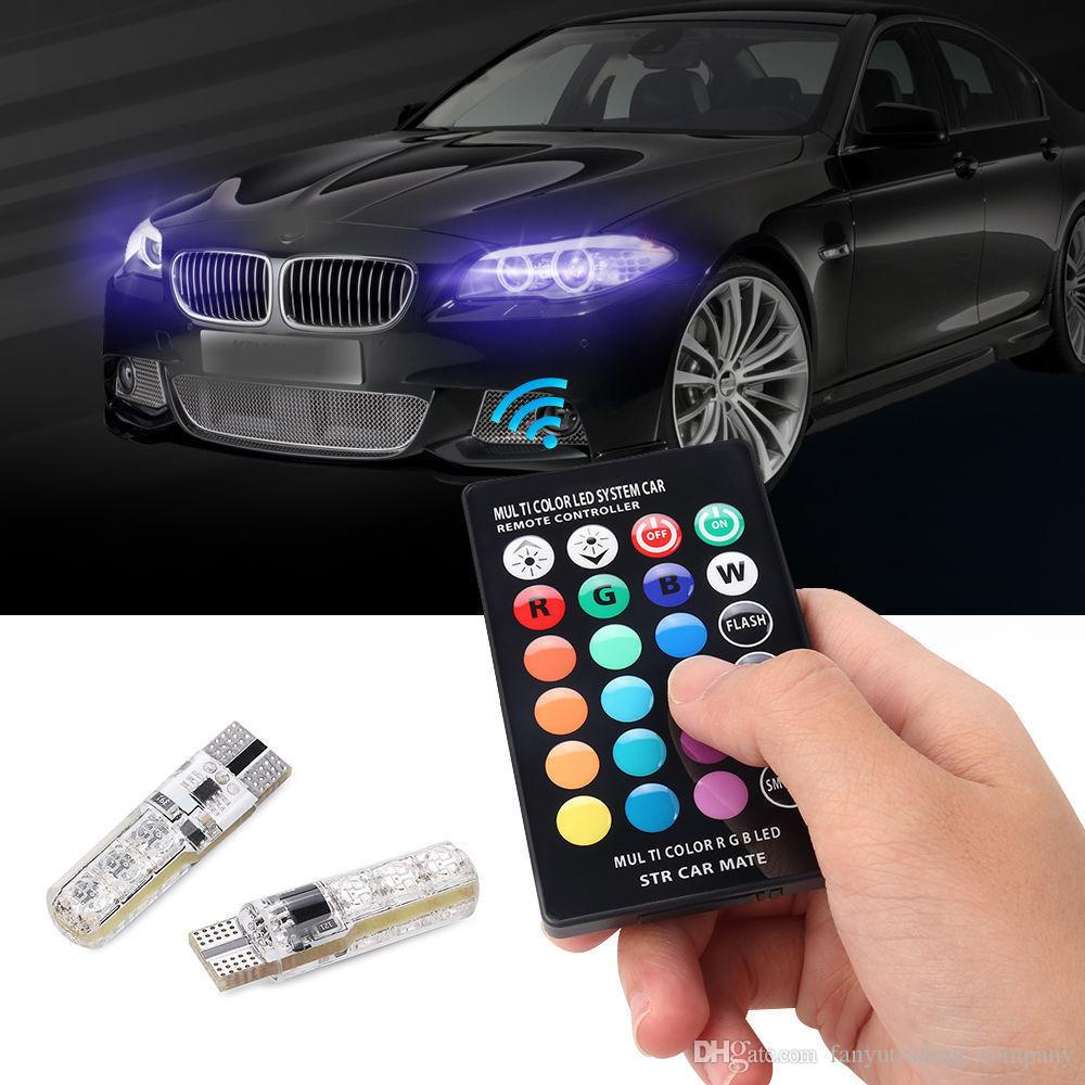 2pcs//pair T10 5050 Remote Control Car Led Bulb 6 Smd Multicolor W5w 501 Side Light Bulbs Free Shipping