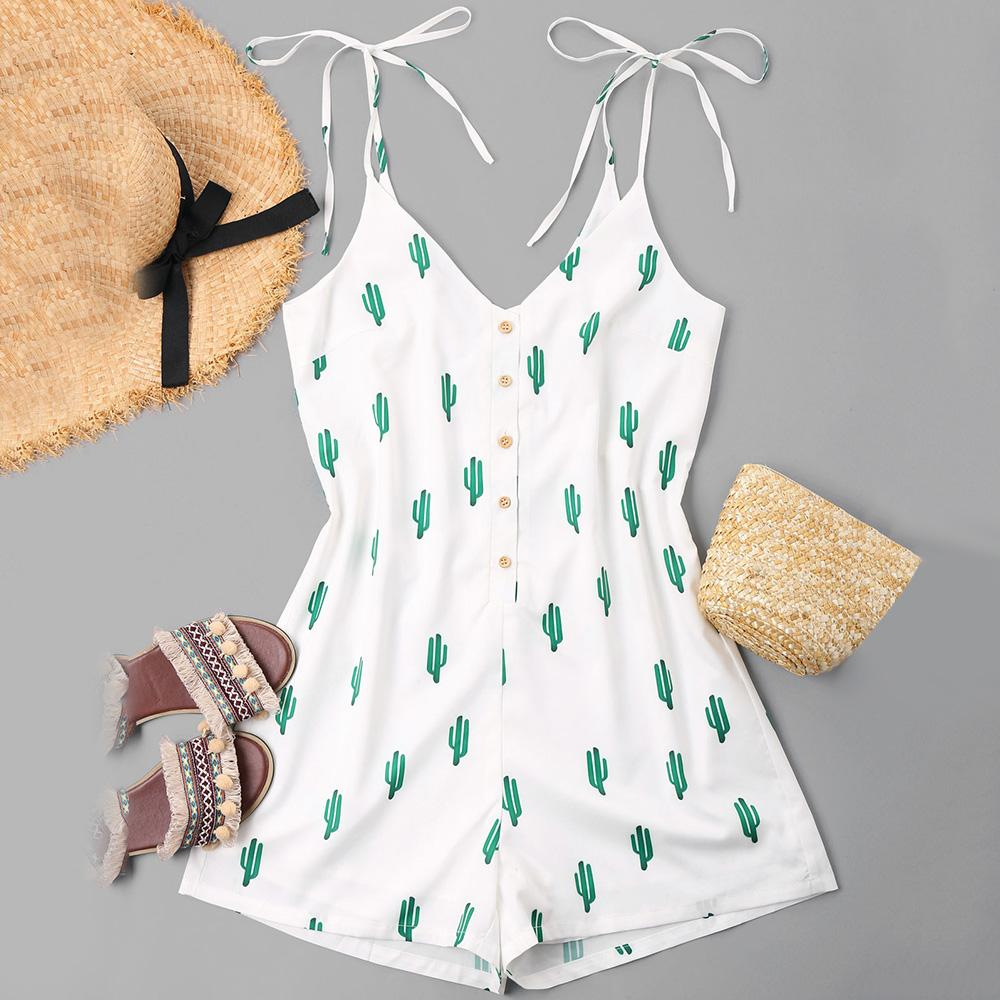 0ec98a3ff7ce 2019 ZAFUL Sexy Women Playsuits Rompers Bohemian Cactus Print Plunge  Spaghetti Strap Buttoned Jumpsuits Summer Women Beach Playsuits From  Cutelove66