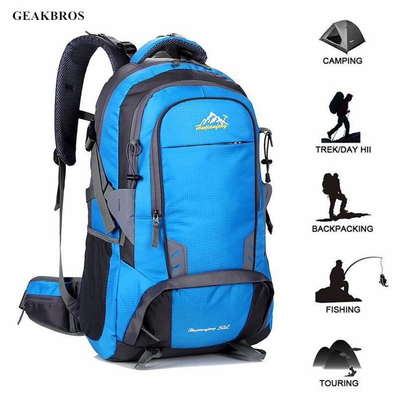 b89bcbb60763 50L Travel Hiking Backpack Waterproof Outdoor Sports Bag Men Women Climbing  Bag Camping Rucksack Mountaineering Backpacks Swiss Gear Backpack Osprey ...