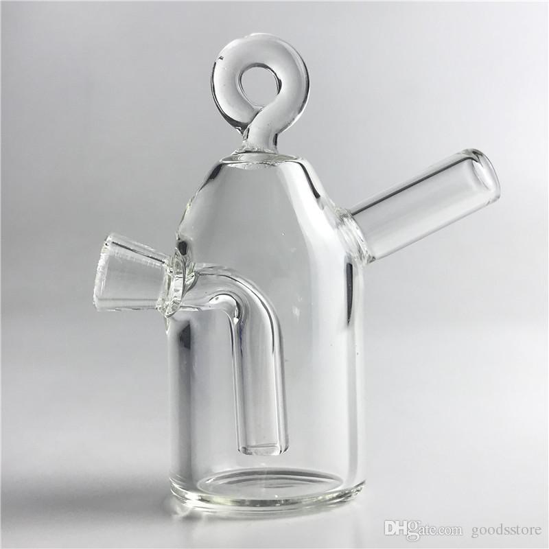 Glas stumpfen Bong mit 3,5 Zoll hängenden Ring dicken Pyrex Glas Martian Bongs Bubbler Hand Wasserleitungen Mini Reise Bong
