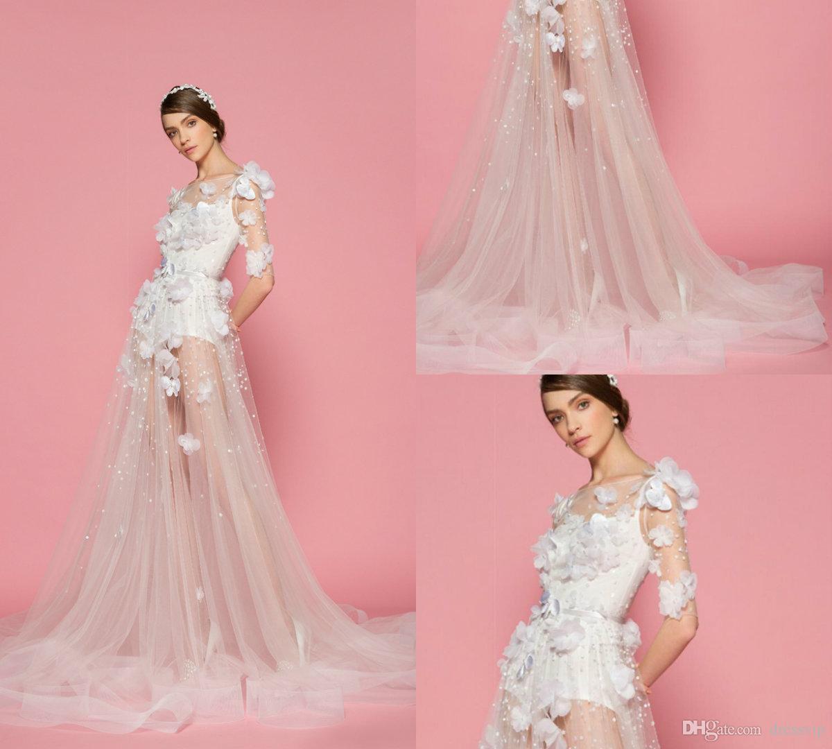 Discount 2018 A Line Beach Wedding Dresses Lace 3d Floral Applique ...