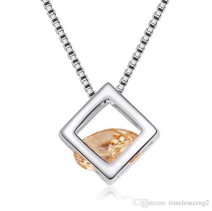Elegant cube pendant necklace with crystal collarbone chain fashion accessories birthday nice gift free ship