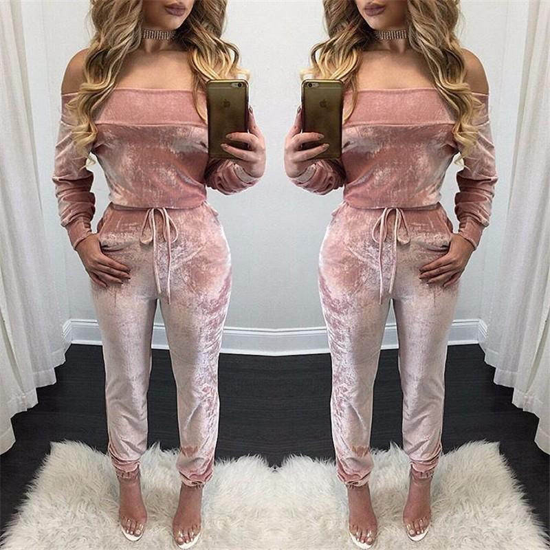 2019 Summer Velvet Jumpsuit Women Jumpsuit Set Nightclub Sexy Slash
