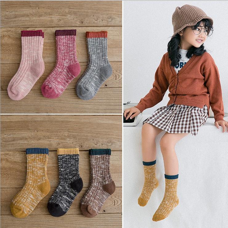 Kids Girls Socks Boys Vertical Stripe Knitting Socks Korean Soft