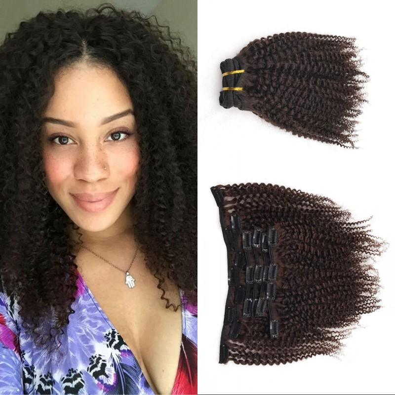 Peruvian Kinky Curly Hair Extensions Medium Brown Clip In Human Hair