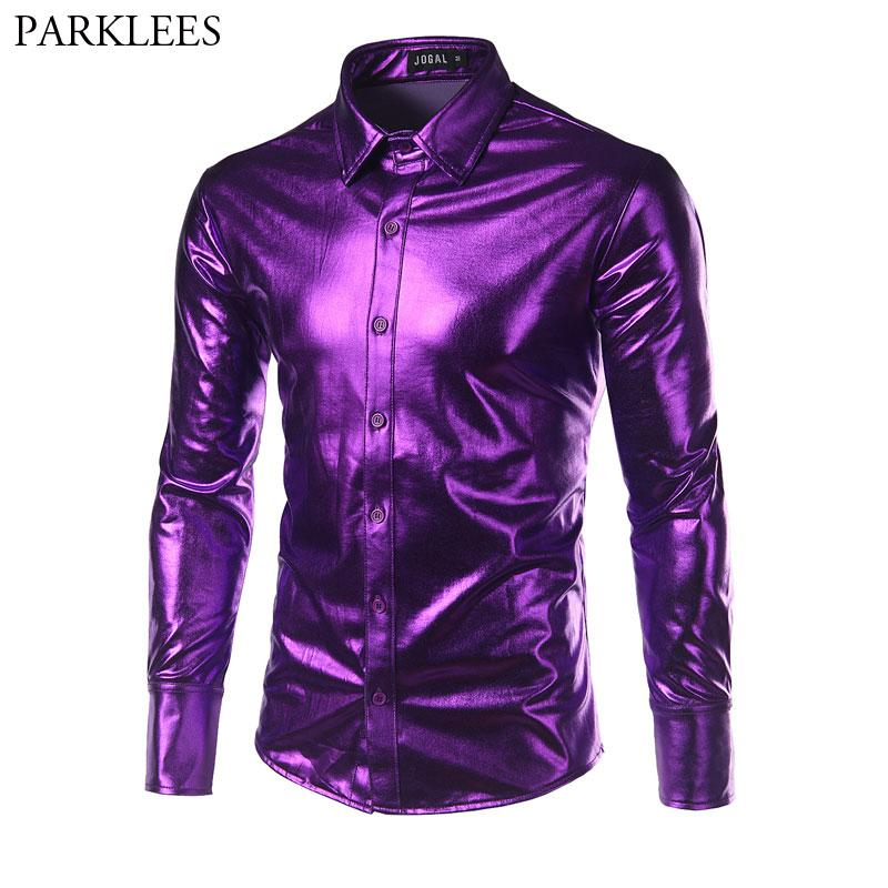 a41f7e7a90 2019 Purple Coated Metallic Night Club Men Shirt Fashion Shiny Slim Fit  Long Sleeve Dress Shirts Mens Casual Button Down Party Shirts From  Lichee666