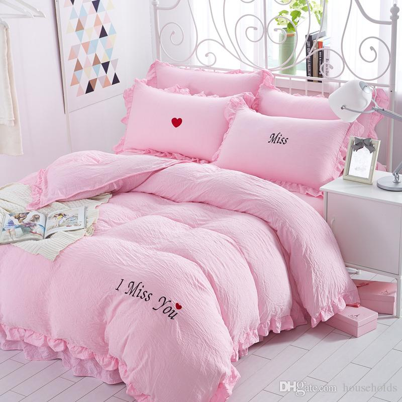 Hot Selling Embroidery Puff Fold Washed Cotton Bedding Set Comforter Duvet  Cover Sheet Sets Bedclothes Bed Linen Girls Lovely Bed Sets Comforter Cover  King ...