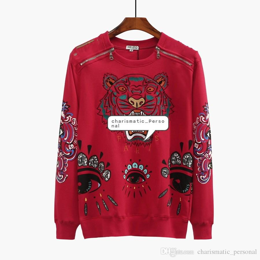 d04789e70b7d0 2019 Sweatshirts Designer Long Sleeve T Shirts For Men Tiger Embroidery  Hoodeis Brand LLetter Top Women Autumn Spring Size S 2XL From  Charismatic personal