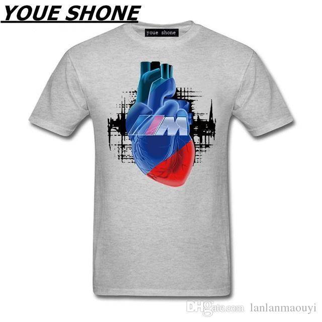 63e5c1f0345 Men 100% COTTON CASUAL Car Tshirt M Power Logo Auto Cars Blut Manner  Printed T Shirt Hip Hop Short Sleeve Tops Cooled Men S Tees   Polos Shirt  Custom T ...