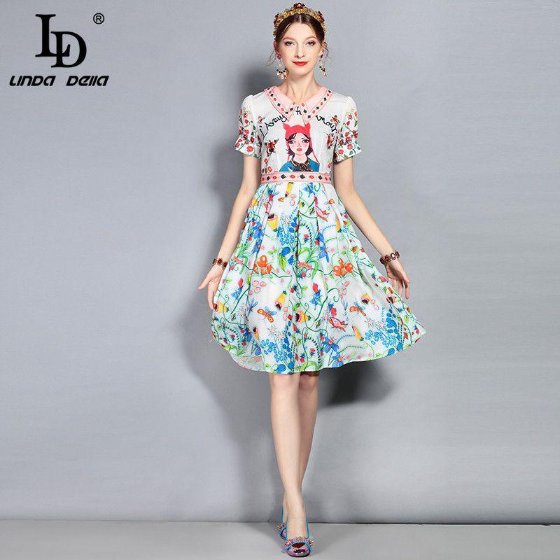 5e431508e4330 LD LINDA DELLA New 2018 Fashion Designer Runway Summer Dress Women s Short  Sleeve Casual Cartoon Floral Printed Elegant Dress