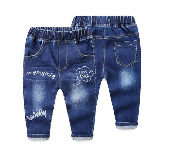 2018 Spring Autumn Children Jeans Stretch Waist Ripped Trousers baby Boys Girls Washed Sport Hole Pants For 1 2 3 4 5 6 Years