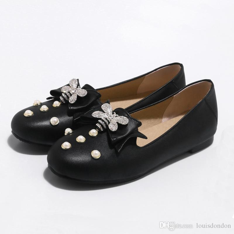 0ba16c5f90af 2018 Women S Black Loafers Slip On Flat Pearl Metallic Bee Embellished  Comfortable Casual Ladies Office Party Shoes Dansko Shoes Tennis Shoes From  ...