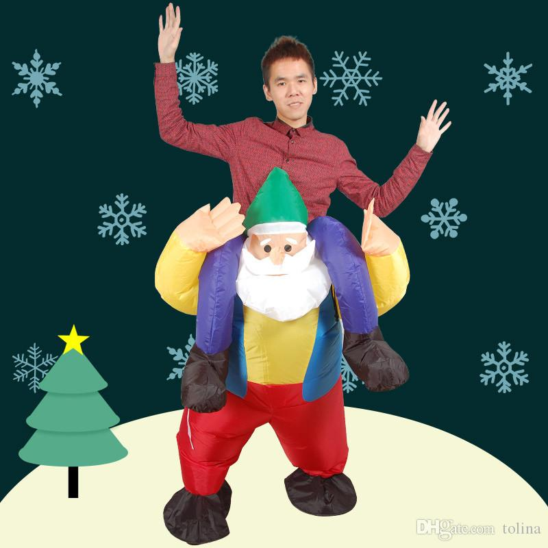 Novelty Inflatable Santa Claus Costume Ride on Santa Cosplay Fancy Dress Up Party Costume Christmas Festival Clothes Funny Pants