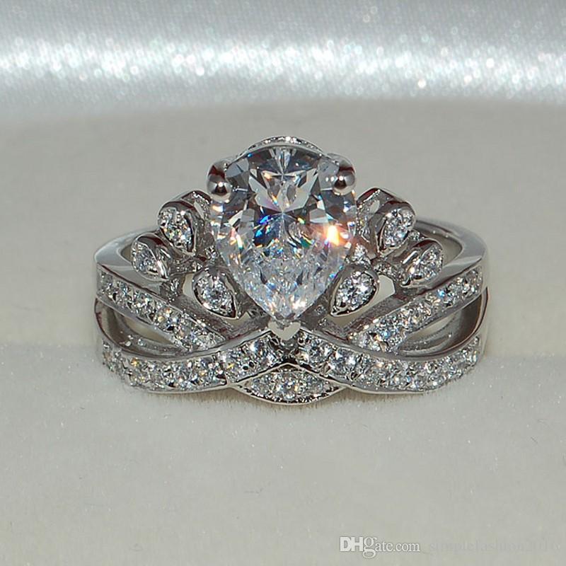 Bijoux de mode poire coupe 6ct 5A zircon cz alliances pour femmes 925 Sterling silver Ring Femme Bijoux de mode