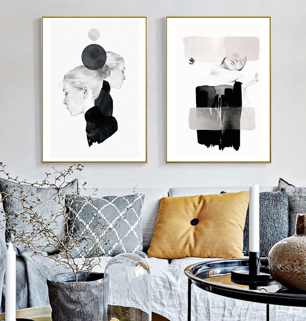 Compre Belleza Abstracta Moda Lienzo Pintura Mujeres Impresion Del