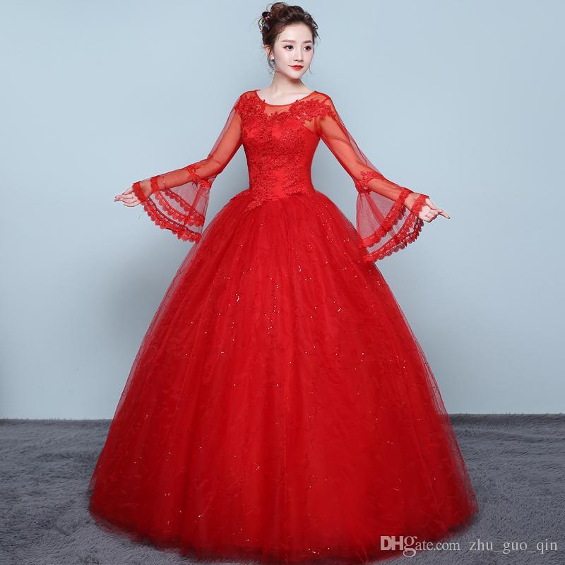 caafd2fd2 Compre Vintage O Pescoço Vermelho Vestido De Noiva Laço De Ouro Elegante  Plus Size Alargamento Manga Applique Vestidos De Casamento Vestido De Festa  De ...