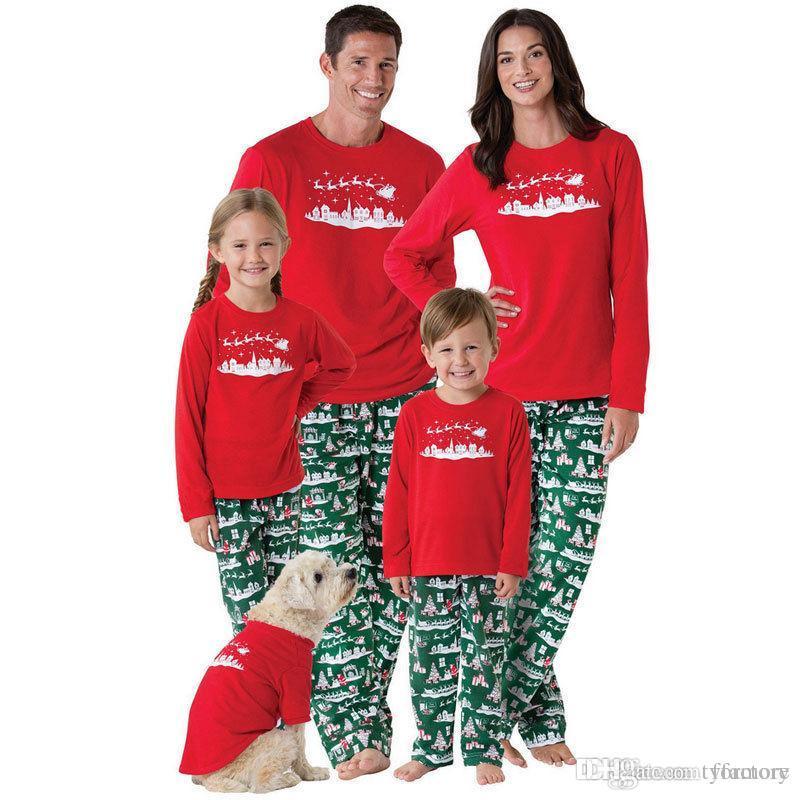 Christmas Family Matching Clothing Sata Pajamas Reindeer Geometric Kid Boys  Girls Adult Outfits Red Tops Green Pants Xmas Clothes 2018 Christmas Family  ... 78810601e