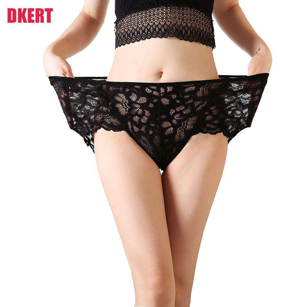 d36523c57d 2019 DKERT Plus Size Women Panties Sexy Lace Brief Transparent Hollow Out  Underwear Soft XXXXL Panties From Waxeer