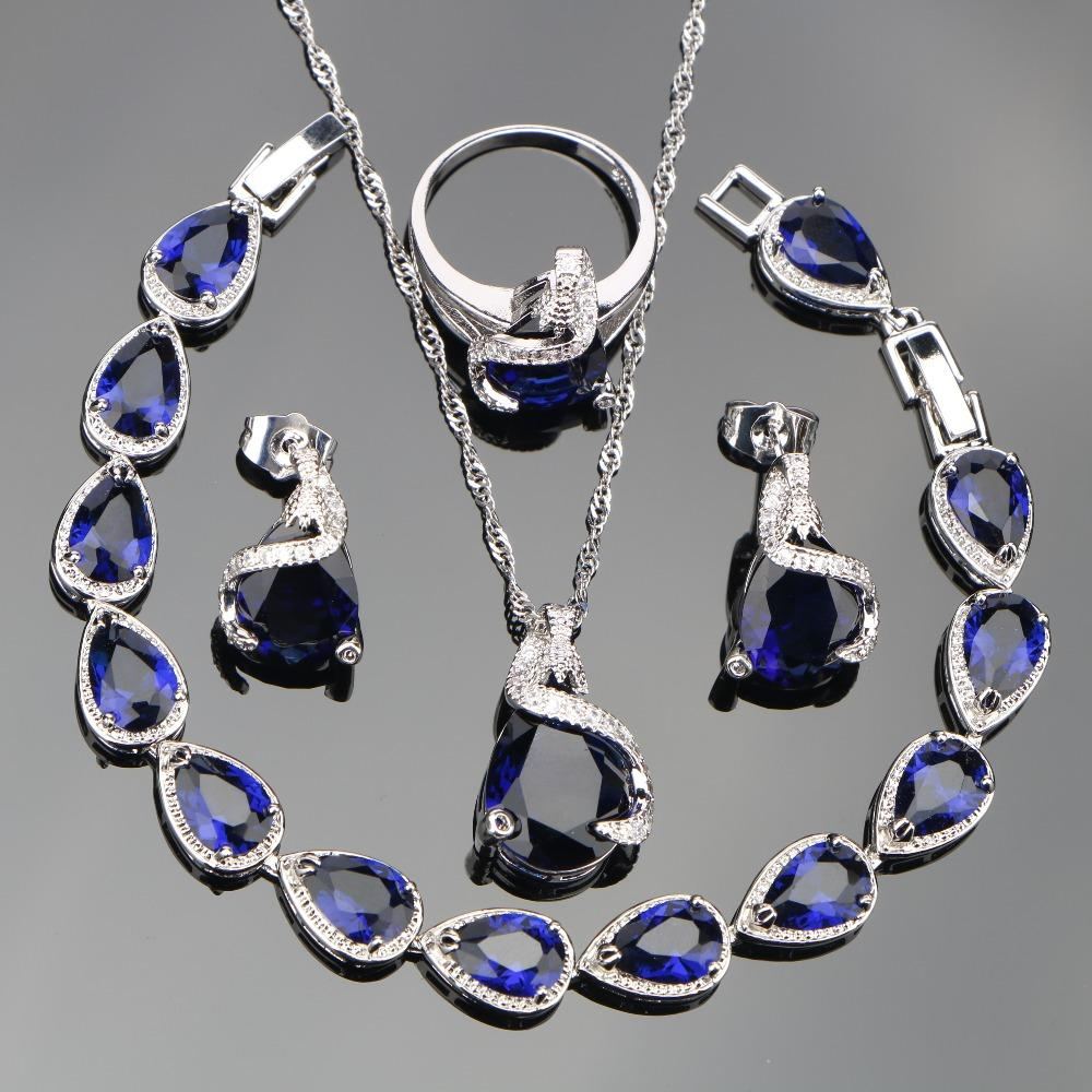 Blue Zircon Silver 925 Costume Wedding Jewelry Sets Women Earrings With Stones Pendants&Necklaces Rings Bracelets Set Gift Box