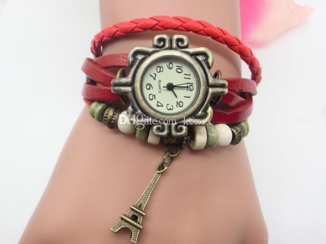 Yeni Moda Vintage deri Bilezik Eyfel Kulesi Saatler Casual Kadınlar Kulesi Kolye Kuvars İzle En İyi Hediye