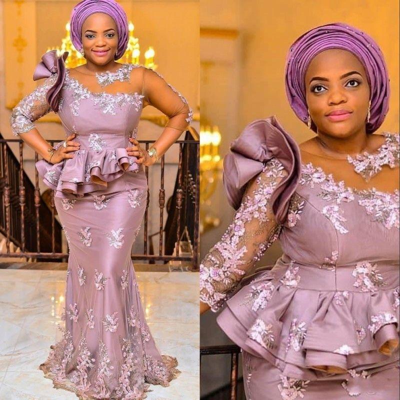 8942b792a Aso Ebi Arabic Style Mermaid Evening Dresses 2018 3 4 Long Sleeves ...