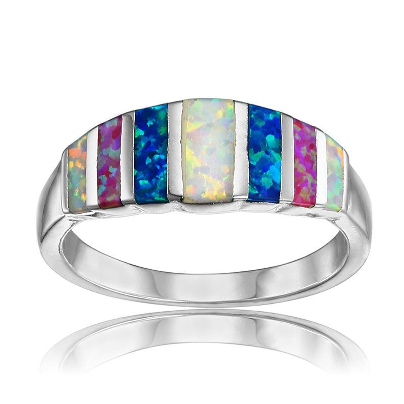 Compre AMORUI Arco Íris Opalas Anéis De Casamento Para As Mulheres Azul    Rosa   Branco   Verde Opal De Fogo De Noivado Anel De Prata Bague Bijoux  Femme ... 1117e5789d