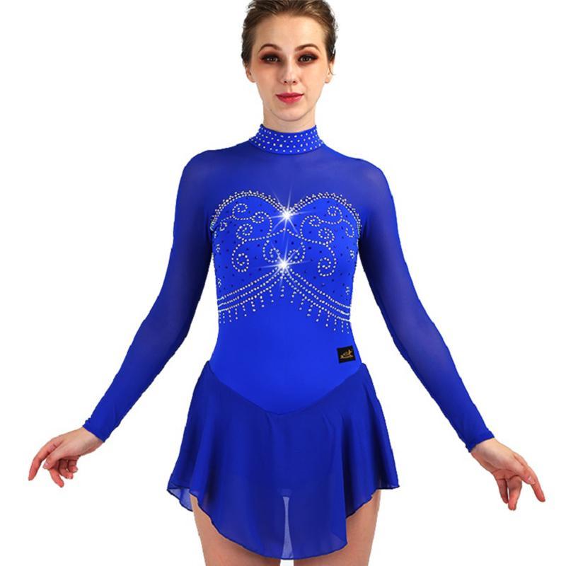 bdc84f2da Vestido de Patinaje Artístico Rhinestone Azul de Manga Larga Vestidos de  Patinaje Sobre Hielo Para Niñas Vestido de Skate de Hielo Ropa de Salón ...