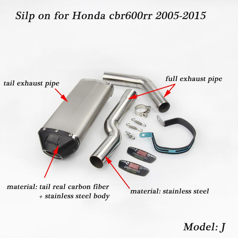 Silp On For Honda Cbr600rr 2005 2015 Motorcycle Stainless Steel Full Connecting Pipe With Mid Pipe Tail Exhaust Silencer System