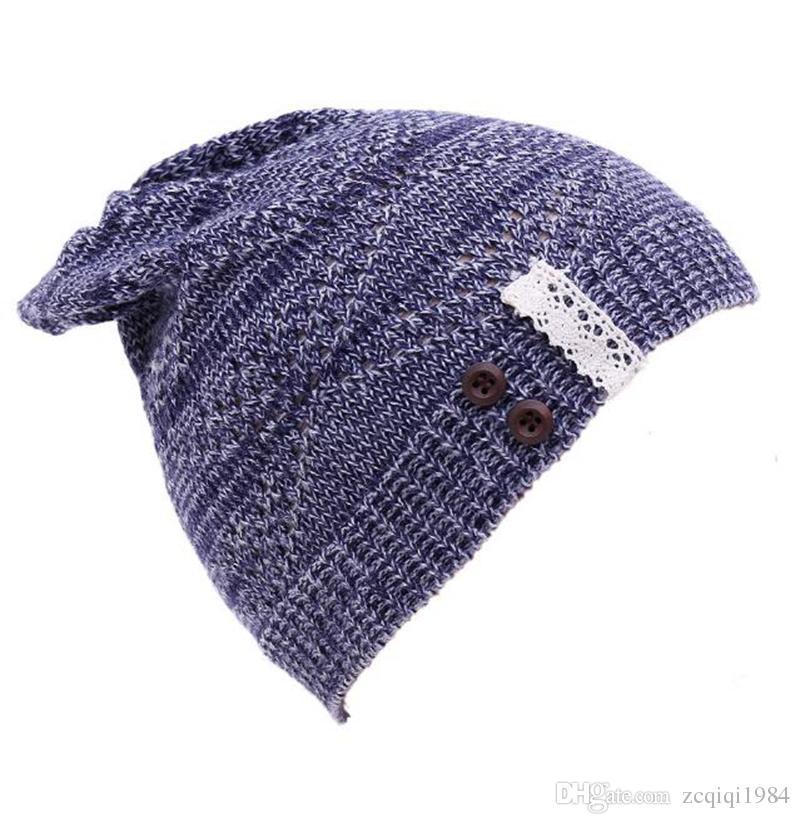 5 cores bonito Malha Beanie Hat Lace botão de aba Quente Chapéus Beret Hedging Cap Chapéu de Inverno Quente Baggy De Lã Crochet Hat