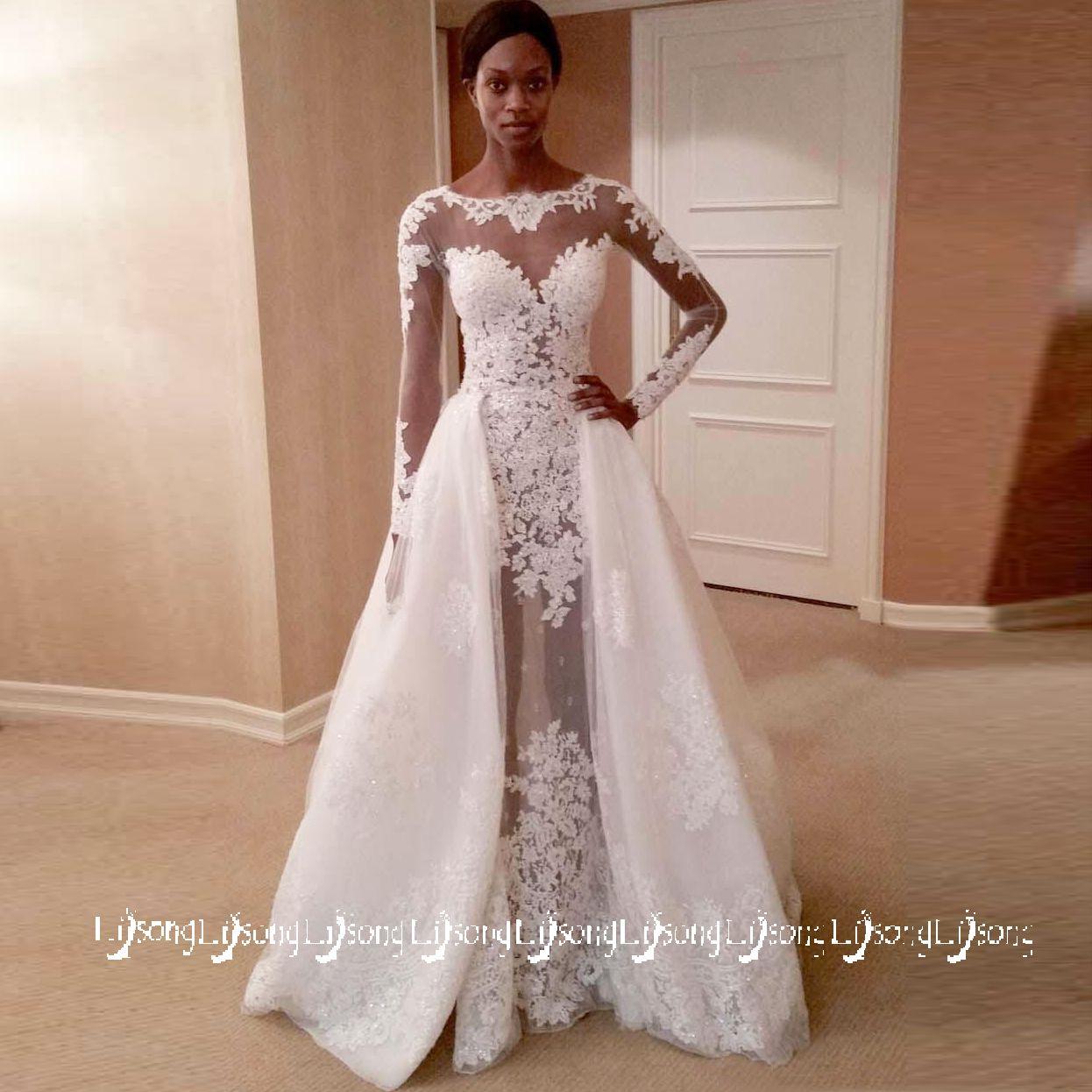a62c0efe893 Discount 2018 White Lace Wedding Dress A Line Full Sleeves Bridal Maxi Gowns  Vestido De Casamento Scoop Brides Long Formal Party Dresses Dark Skin  Wedding ...