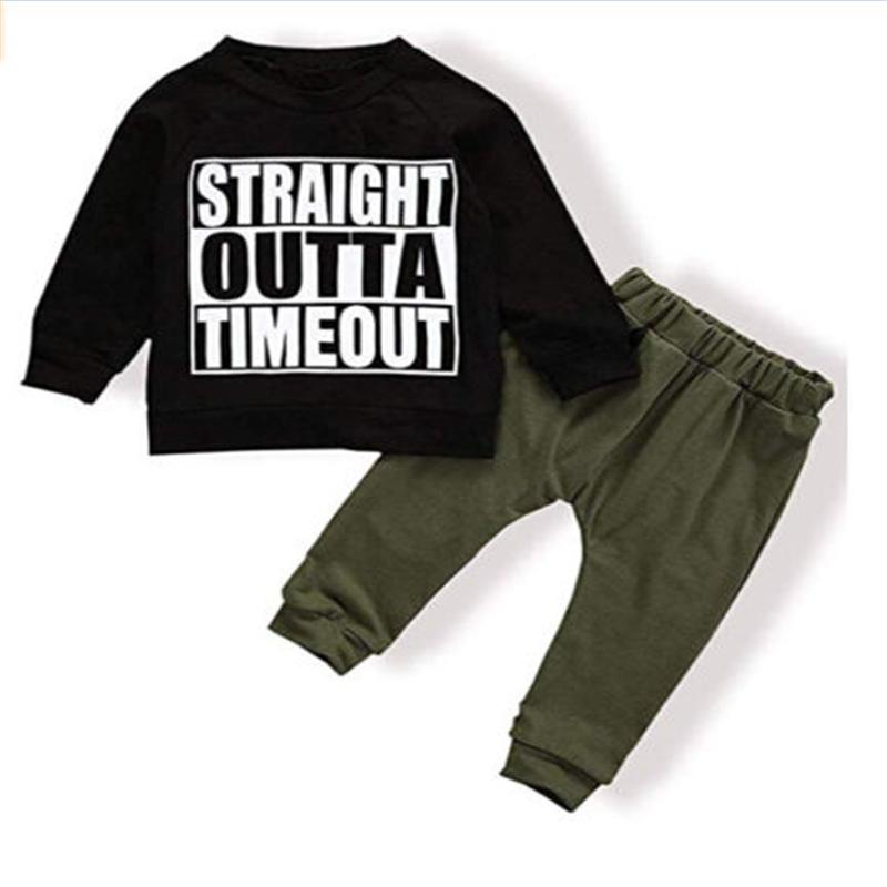 0e351a666 2019 STRAIGHT OUTTA TIMEOUT Newborn Kids Baby Boys Tops T Shirt Pants  Leggings Outfits AutumnSet Clothes Tracksuit 0 4Y From Fkansis, $36.14 |  DHgate.Com