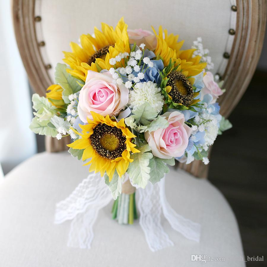 New yellow blue bridal bouquets sunflower rose hydrangea