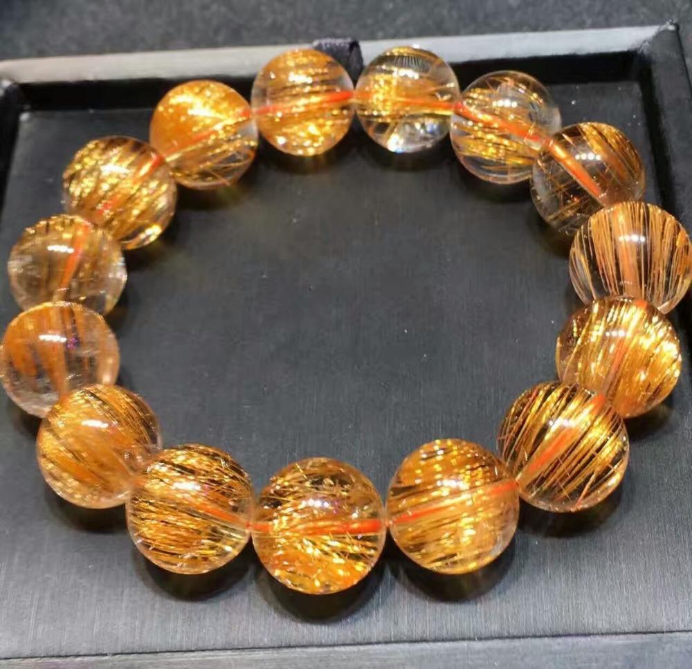 13ad562fb76 Compre Cobre Natural Rutilado De Quartzo De Cristal Rodada Beads Pulseira  15mm Aaaaa De Watercup
