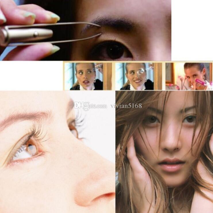 Maquillaje de Luz Led de Pestañas Cejas depilación Pinza Pinza Clip de Moda y Belleza de la Herramienta de la Ceja de la Pinza de Pelo de la Herramienta de Eliminación de regalo Envío Gratis
