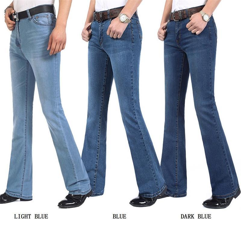 Free Shipping Men's Autumn And Winter Business Casual Boot Cut Jeans Male Mid Waist flares Semi-flared Bell Bottom Pants 27-34