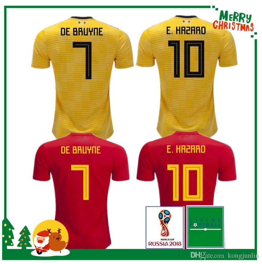 d755653274c 2019 Thailand Quality 2018 Belgium Home Away Red LUKAKU FELLAINI HAZARD  KOMPANY DE BRUYNE MERTENS Soccer Jersey 18 19 Belgium Football Shirt From  Kongjunlin ...