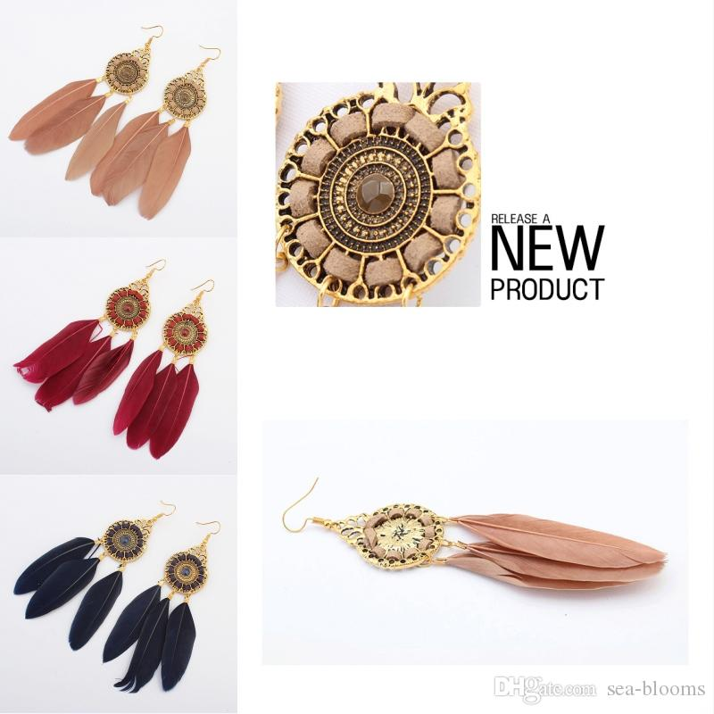 6 Colors Ethnic Style Vintage Fashion Circle Feather Chain Earrings Tassel Feather Leaf Dangle Earring Eardrop Women Jewelry Free DHL H52R
