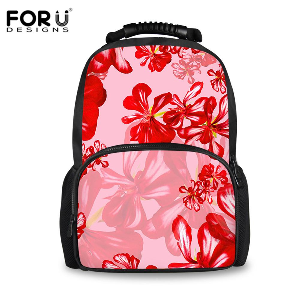 e311f0b0c7 FORUDESIGNS Large School Bags For Teenage Girls Retro Red Floral Print Satchel  Backpack Children Fashion Flower Bookbag School Bags For Girls Backpacks  For ...