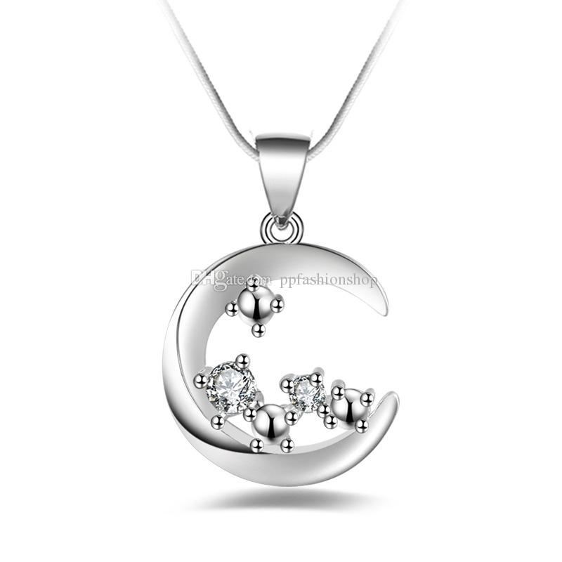 Wholesale silver jewelry pendant fine natural diamond moon pendant wholesale silver jewelry pendant fine natural diamond moon pendant 925 jewelry silver plated necklace fashion gift necklace top quality single diamond aloadofball Image collections
