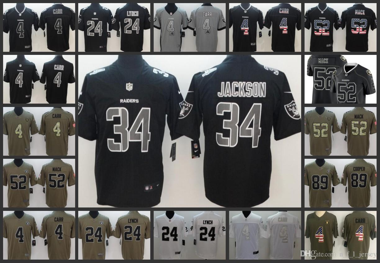 5c880bb7c 2019 Oakland Men Raiders Jersey #4 Derek Carr 24 Marshawn Lynch 52 Khalil  Mack 89 Amari Cooper 34 Bo Jackson Women Youth Football Jerseys From ...