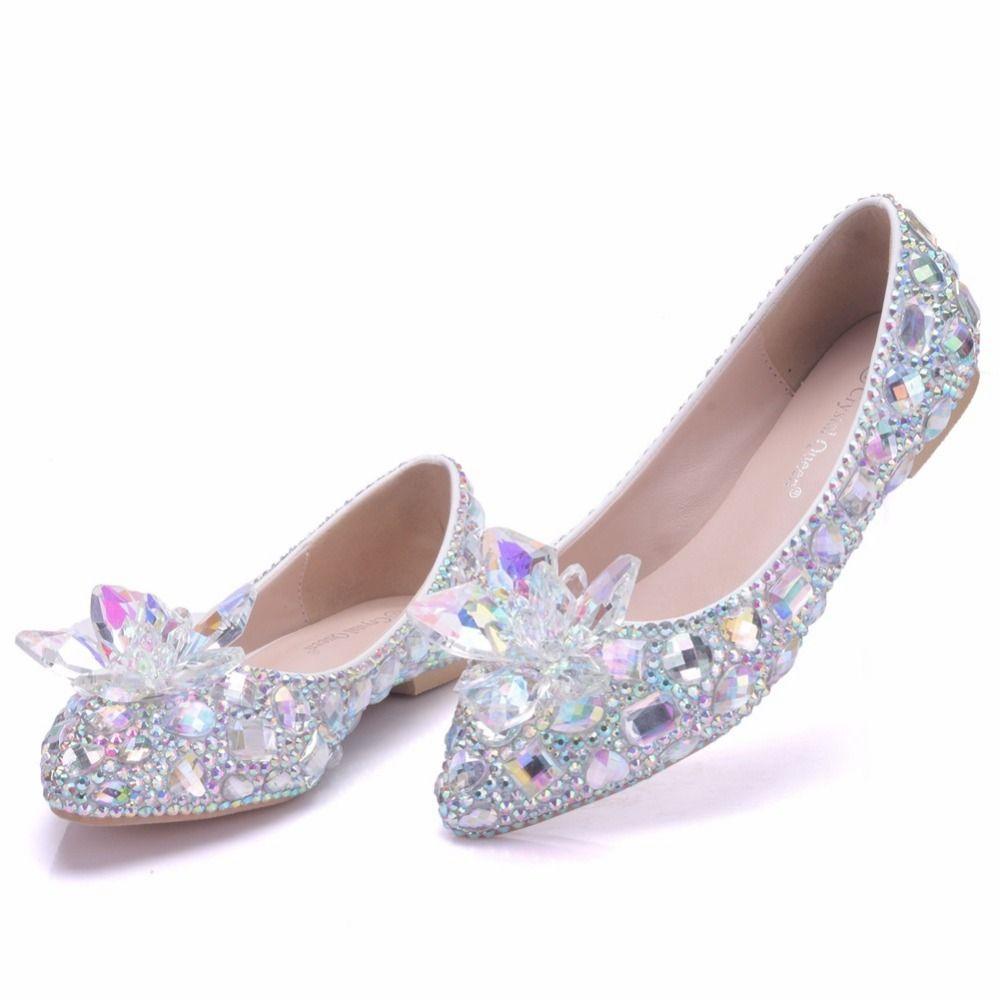 Grosshandel Schone Hochzeit Schuhe Flache Ferse Silber Perle Bequeme