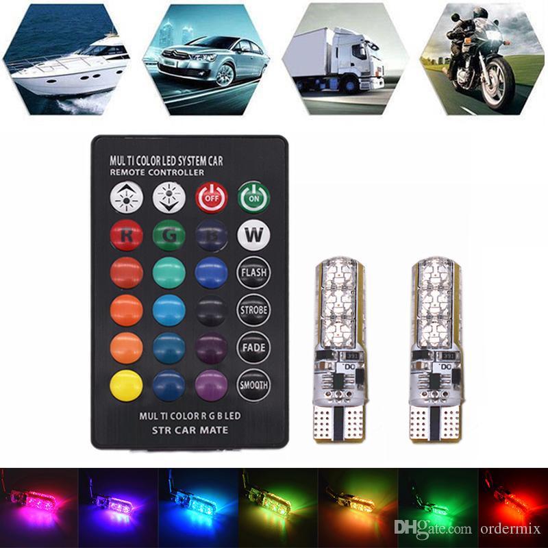 Luces de cuña de coche a prueba de agua a prueba de calor Ultra brillante T10 6 Led 5050 RGB multicolor Luz DC 12V