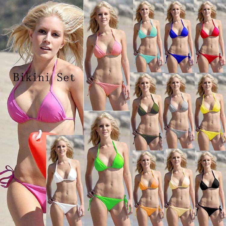 f4c7bbd33846b Sexy Summer Swimwear Female Solid Bikinis 2018 Women Swimsuit Bikini Push  Up Top Bottom Set Bathing Suit Beach Swim Sport Style Biquini Swimwear Women  2018 ...