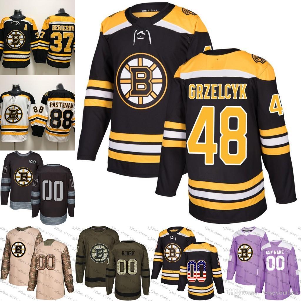 the best attitude eca2b de6a9 2018-2019 Men s Boston Bruins 48 Matt Grzelcyk Ice Hockey Jersey purple  black white army green 100th flat usa women youth size S-3XL