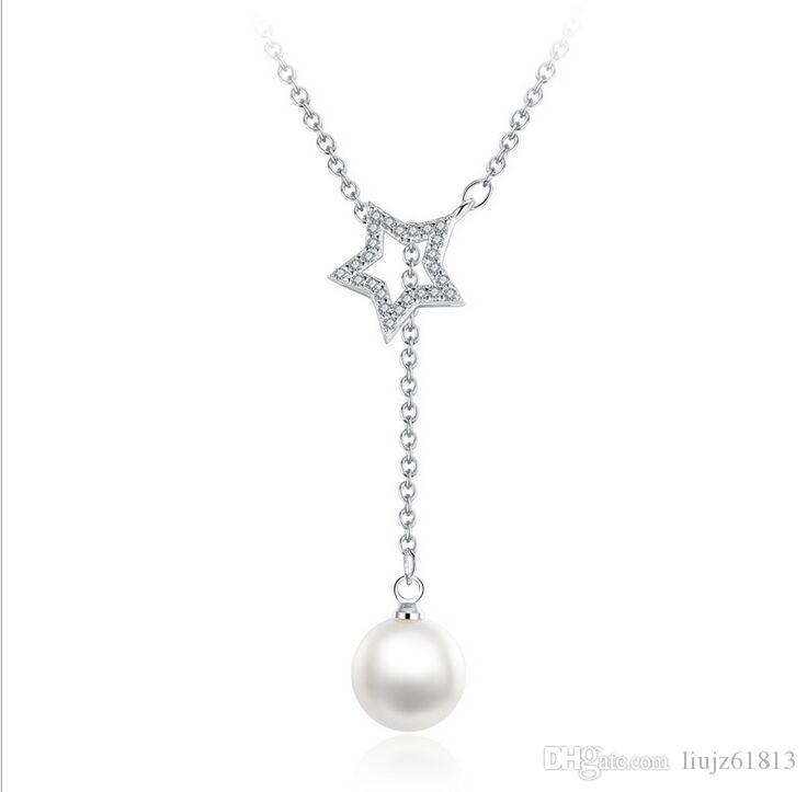 Wholesale Fashion Cross Collarbone Chain Crystal Women Necklace Simulated  Pearl Pentagram Pendants Necklaces Wedding Jewelry Custom Jewelry Gold  Jewellery ... 1655d7a24b61