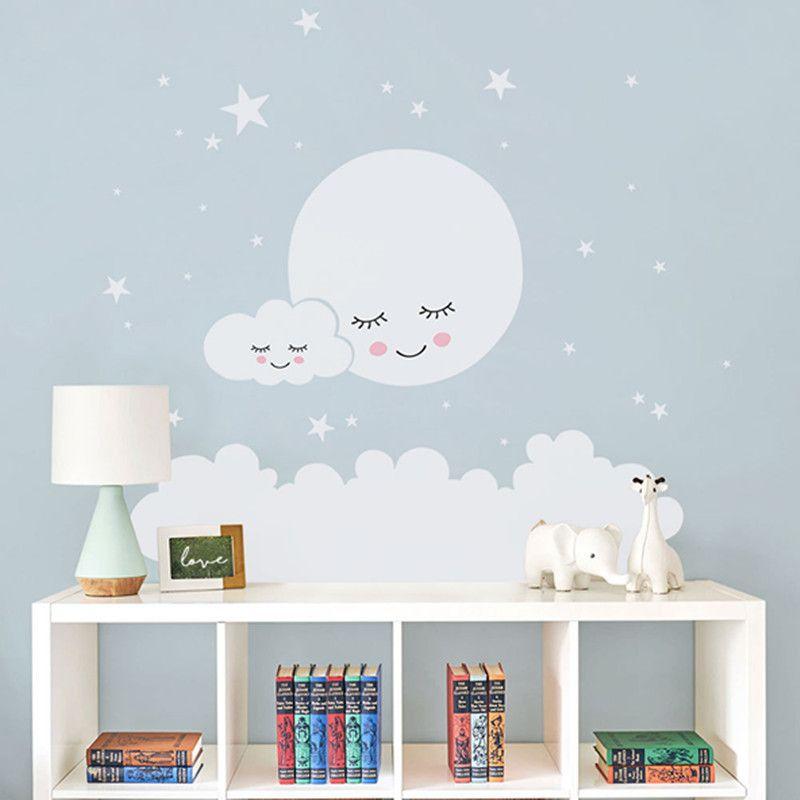 Moon Stars Wall Decal Cloud Nursery Wall Stickers For Kids Room Decal  Nursery Wall Sticker Girls Decorative Vinyl Babies T180838 Y18102209 Full  Wall Decal ...